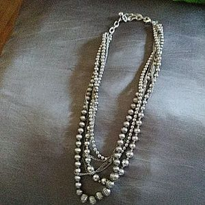 Jewelry - Silver tone beads and chain necklace
